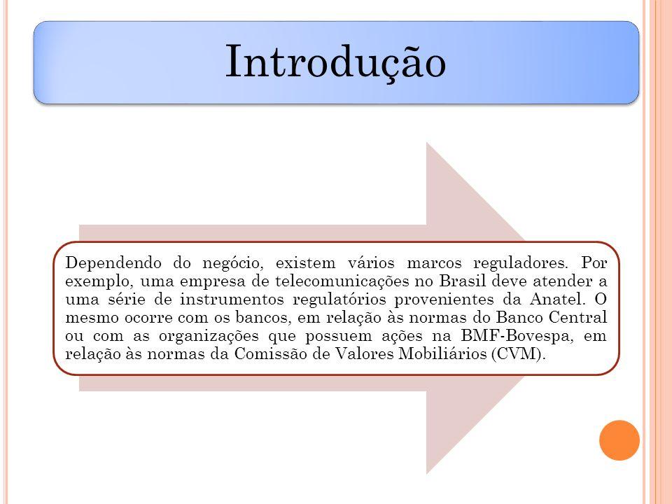 Introdução Dependendo do negócio, existem vários marcos reguladores. Por exemplo, uma empresa de telecomunicações no Brasil deve atender a uma série d