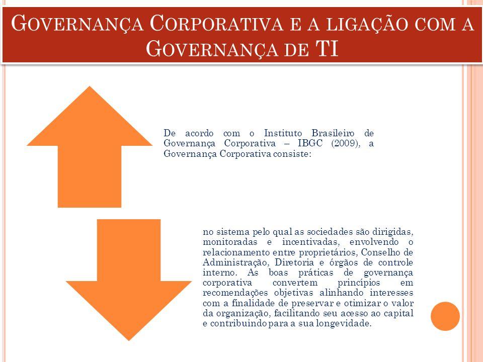 G OVERNANÇA C ORPORATIVA E A LIGAÇÃO COM A G OVERNANÇA DE TI De acordo com o Instituto Brasileiro de Governança Corporativa – IBGC (2009), a Governanç