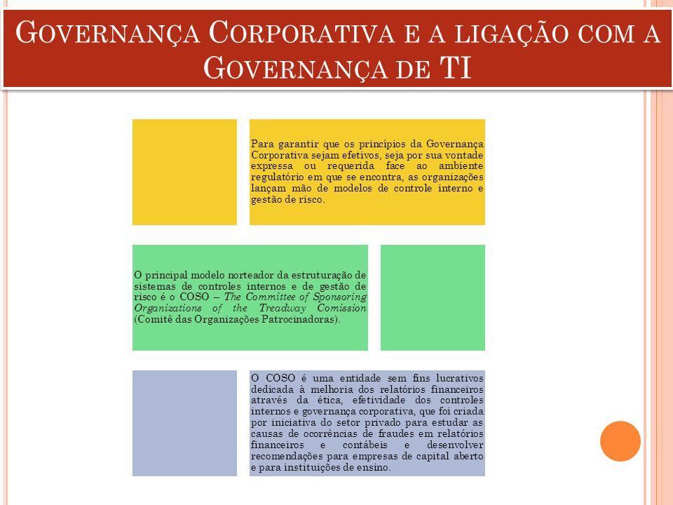 G OVERNANÇA C ORPORATIVA E A LIGAÇÃO COM A G OVERNANÇA DE TI Para garantir que os princípios da Governança Corporativa sejam efetivos, seja por sua vo