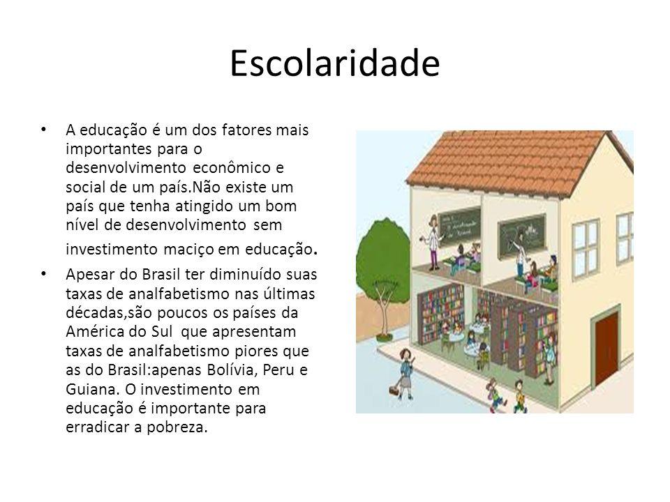 Escolaridade A educação é um dos fatores mais importantes para o desenvolvimento econômico e social de um país.Não existe um país que tenha atingido u