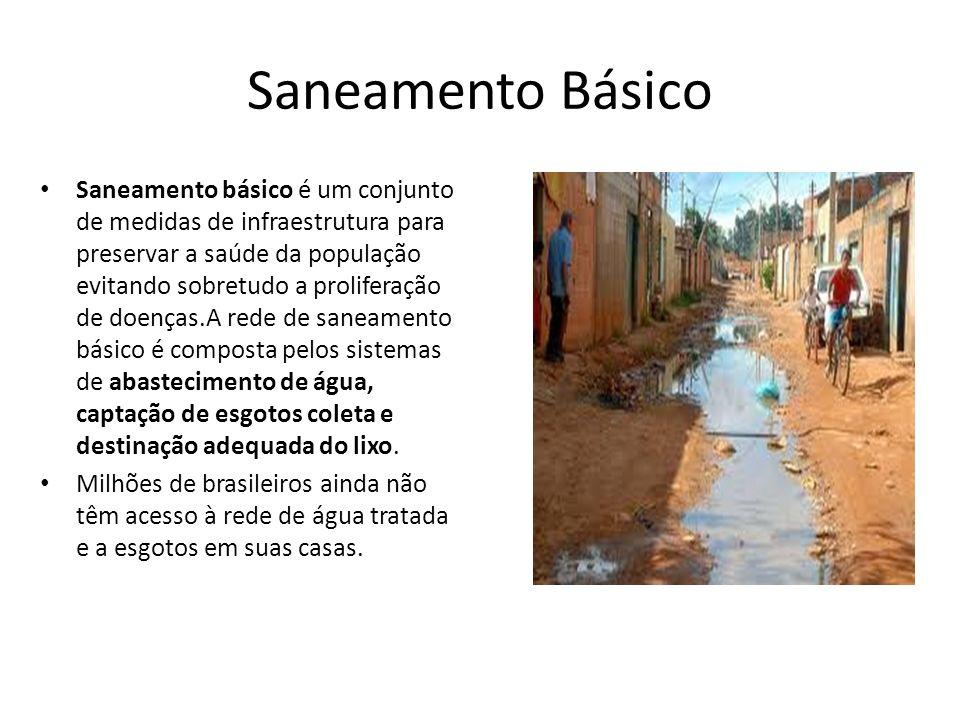 Saneamento Básico Saneamento básico é um conjunto de medidas de infraestrutura para preservar a saúde da população evitando sobretudo a proliferação d