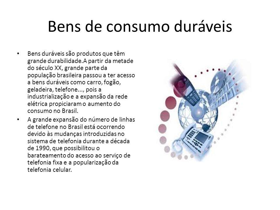 Bens de consumo duráveis Bens duráveis são produtos que têm grande durabilidade.A partir da metade do século XX, grande parte da população brasileira