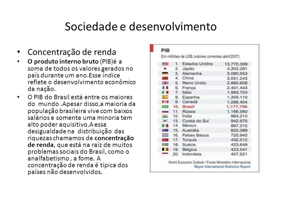 Sociedade e desenvolvimento Concentração de renda O produto interno bruto (PIB)é a soma de todos os valores gerados no país durante um ano.Esse índice