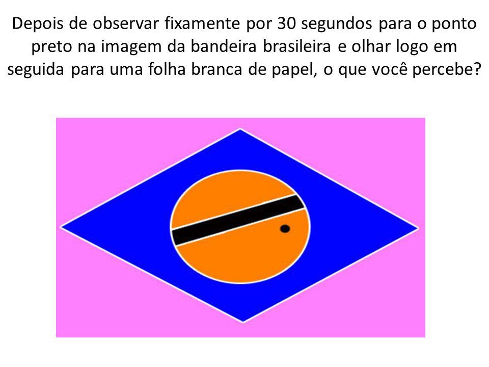 Depois de observar fixamente por 30 segundos para o ponto preto na imagem da bandeira brasileira e olhar logo em seguida para uma folha branca de pape