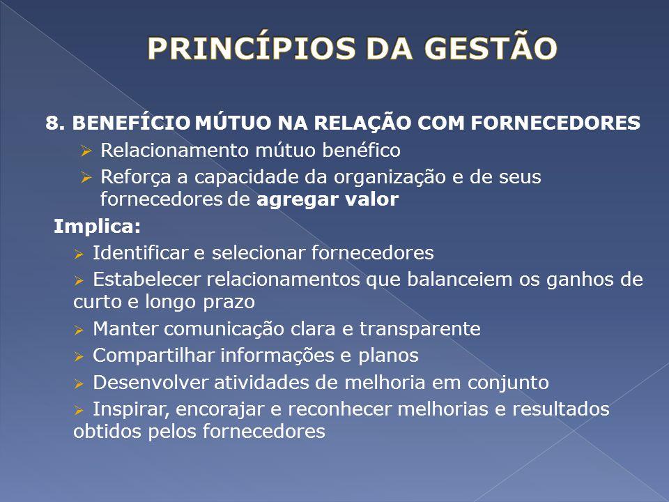 8. BENEFÍCIO MÚTUO NA RELAÇÃO COM FORNECEDORES Relacionamento mútuo benéfico Reforça a capacidade da organização e de seus fornecedores de agregar val