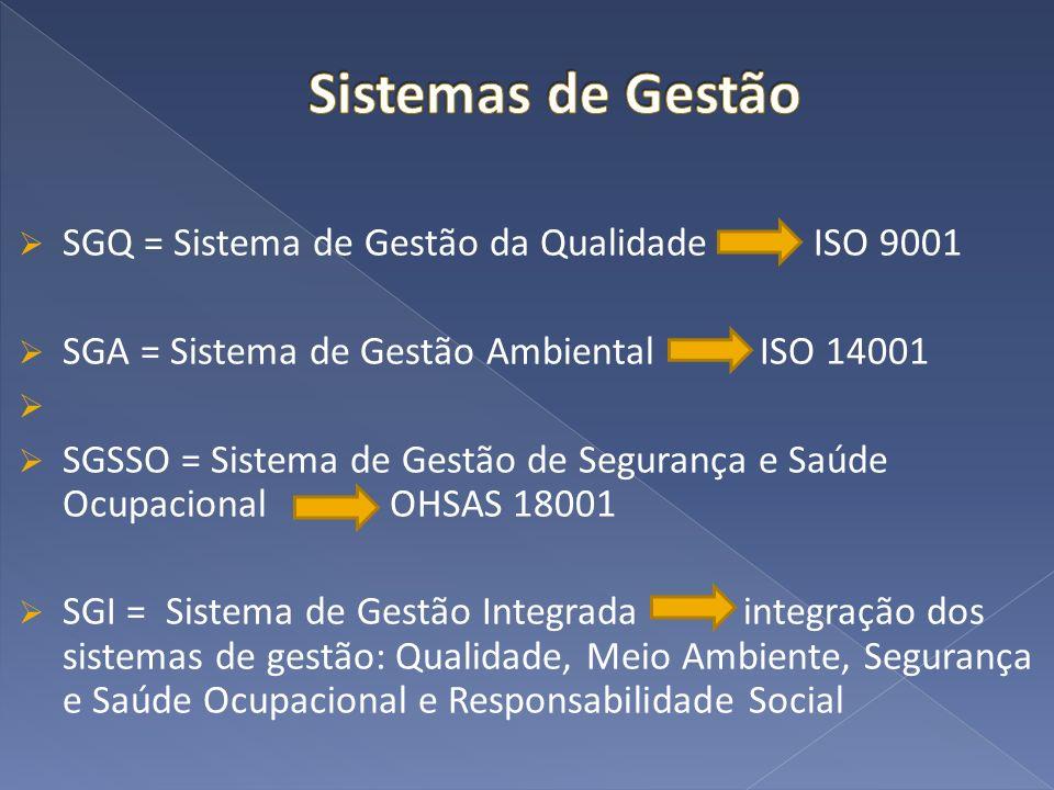 SGQ = Sistema de Gestão da Qualidade ISO 9001 SGA = Sistema de Gestão Ambiental ISO 14001 SGSSO = Sistema de Gestão de Segurança e Saúde Ocupacional O