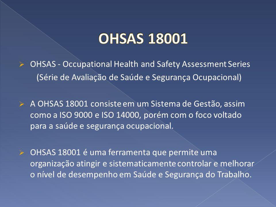 OHSAS - Occupational Health and Safety Assessment Series (Série de Avaliação de Saúde e Segurança Ocupacional) A OHSAS 18001 consiste em um Sistema de