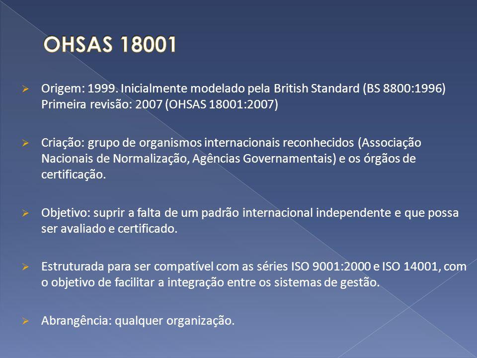Origem: 1999. Inicialmente modelado pela British Standard (BS 8800:1996) Primeira revisão: 2007 (OHSAS 18001:2007) Criação: grupo de organismos intern