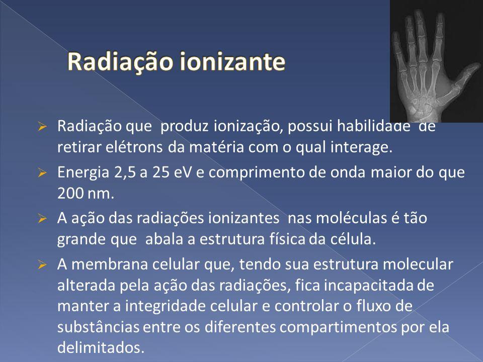 Radiação que produz ionização, possui habilidade de retirar elétrons da matéria com o qual interage. Energia 2,5 a 25 eV e comprimento de onda maior d