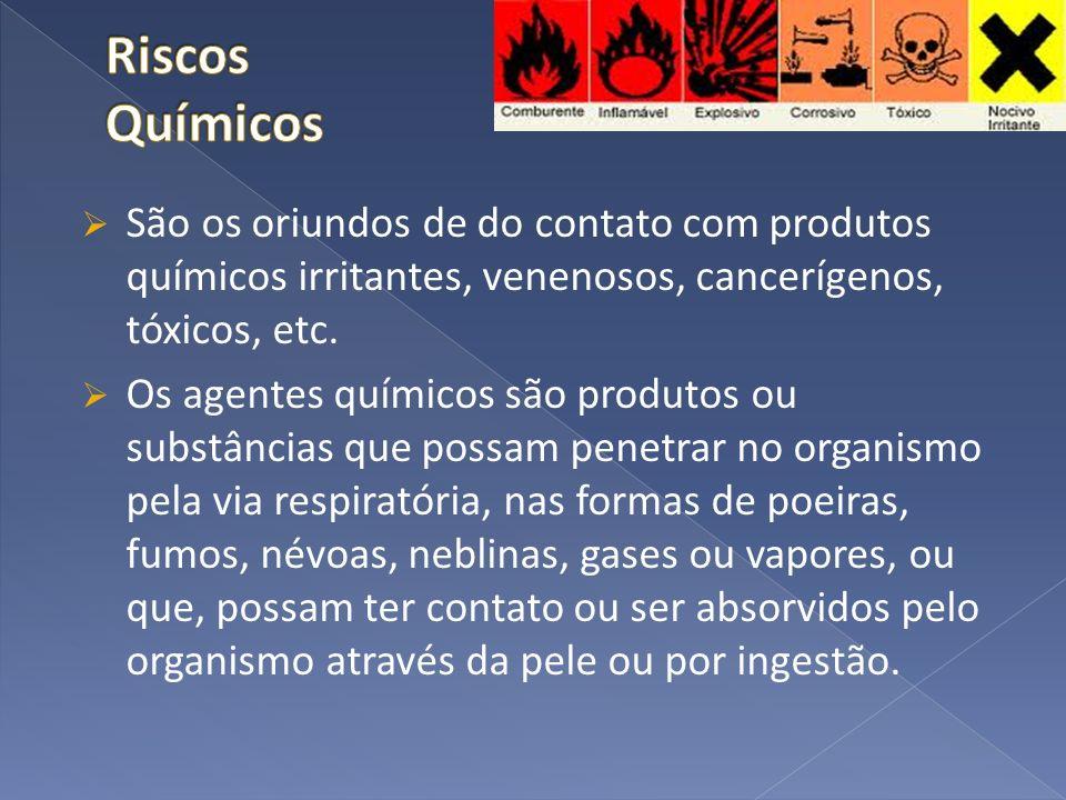 São os oriundos de do contato com produtos químicos irritantes, venenosos, cancerígenos, tóxicos, etc. Os agentes químicos são produtos ou substâncias