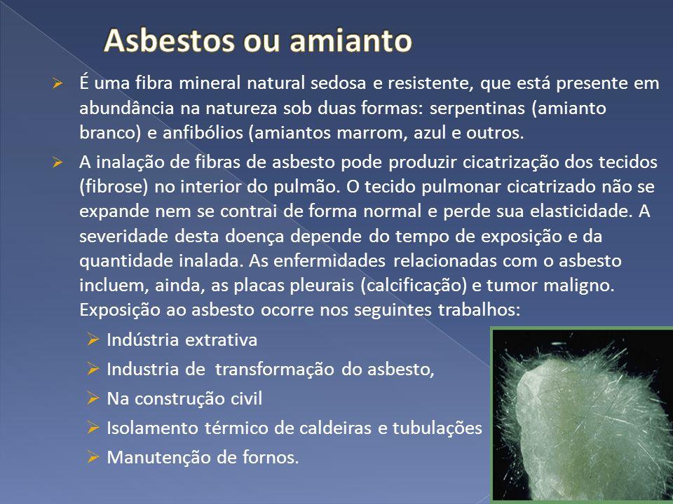 É uma fibra mineral natural sedosa e resistente, que está presente em abundância na natureza sob duas formas: serpentinas (amianto branco) e anfibólio