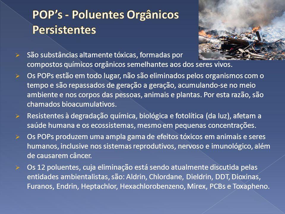 São substâncias altamente tóxicas, formadas por compostos químicos orgânicos semelhantes aos dos seres vivos. Os POPs estão em todo lugar, não são eli