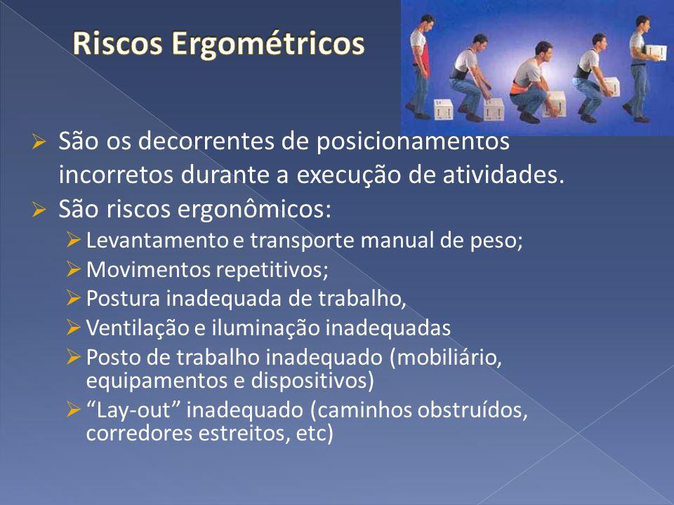 São os decorrentes de posicionamentos incorretos durante a execução de atividades. São riscos ergonômicos: Levantamento e transporte manual de peso; M