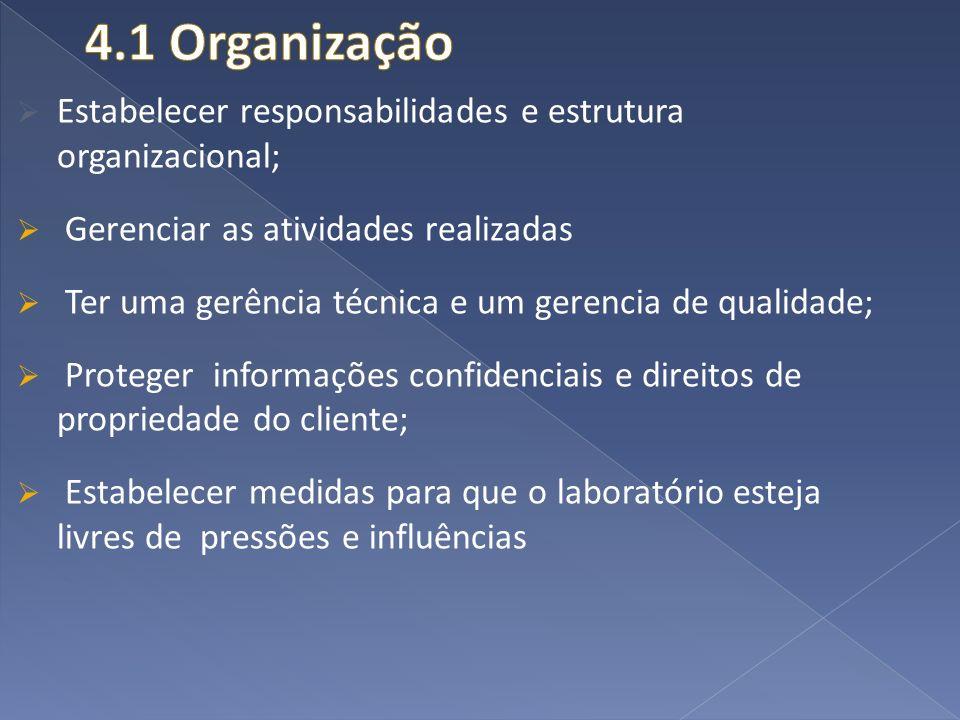 Estabelecer responsabilidades e estrutura organizacional; Gerenciar as atividades realizadas Ter uma gerência técnica e um gerencia de qualidade; Prot