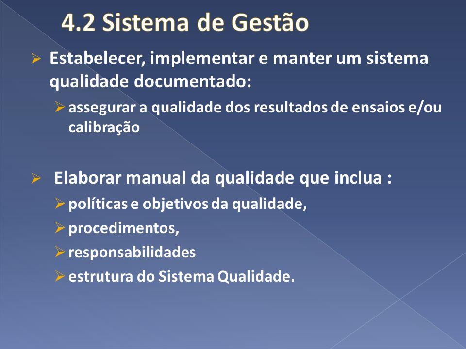 Estabelecer, implementar e manter um sistema qualidade documentado: assegurar a qualidade dos resultados de ensaios e/ou calibração Elaborar manual da