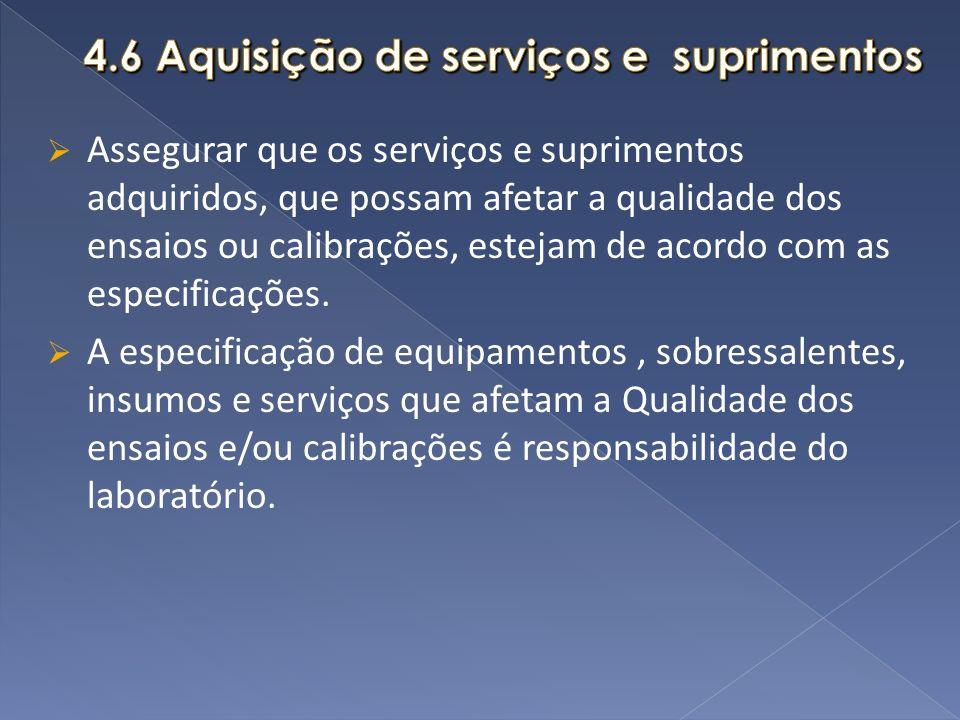 Assegurar que os serviços e suprimentos adquiridos, que possam afetar a qualidade dos ensaios ou calibrações, estejam de acordo com as especificações.