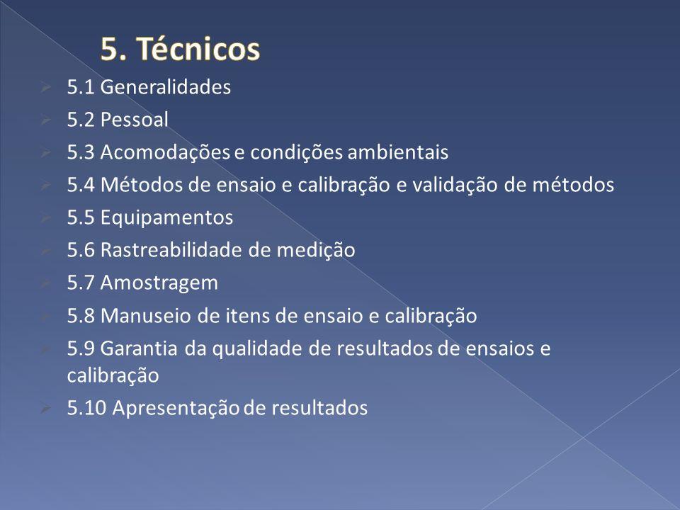 5.1 Generalidades 5.2 Pessoal 5.3 Acomodações e condições ambientais 5.4 Métodos de ensaio e calibração e validação de métodos 5.5 Equipamentos 5.6 Ra