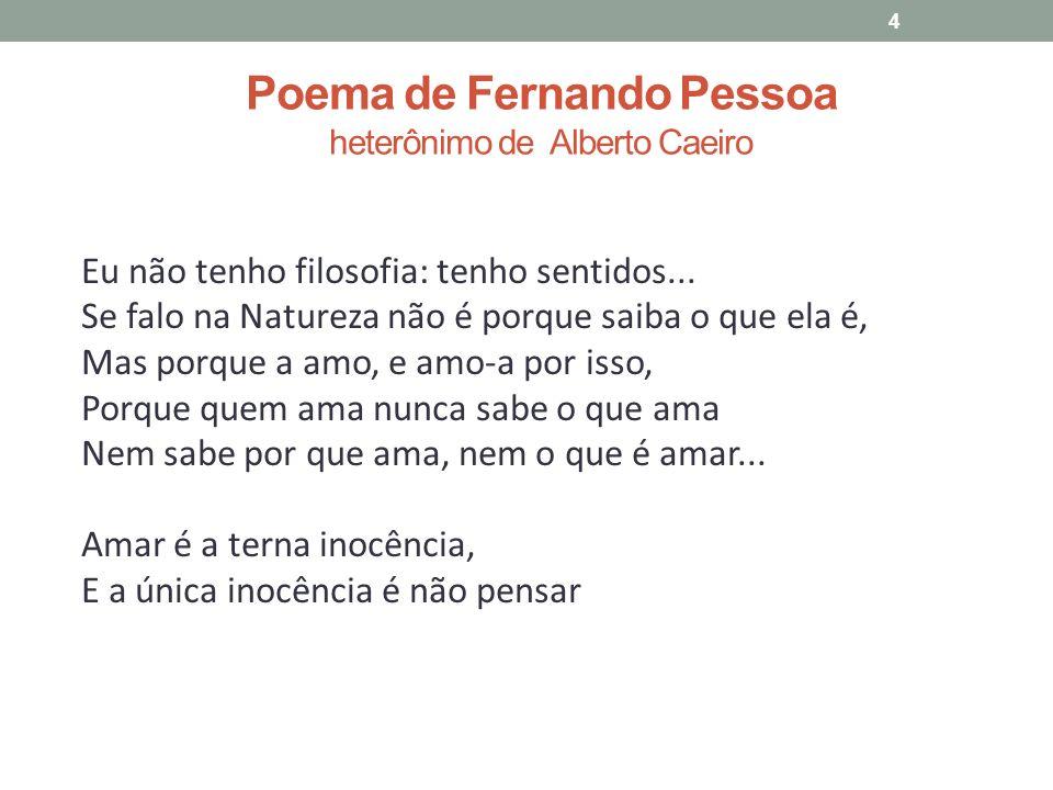 Poema de Fernando Pessoa heterônimo de Alberto Caeiro 4 Eu não tenho filosofia: tenho sentidos...