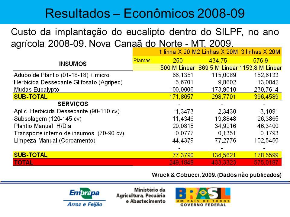 Wruck & Cobucci, 2009. (Dados não publicados) Custo da implantação do eucalipto dentro do SILPF, no ano agrícola 2008-09. Nova Canaã do Norte - MT, 20