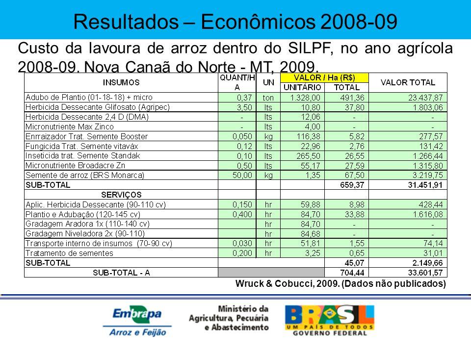 Wruck & Cobucci, 2009. (Dados não publicados) Custo da lavoura de arroz dentro do SILPF, no ano agrícola 2008-09. Nova Canaã do Norte - MT, 2009. Resu