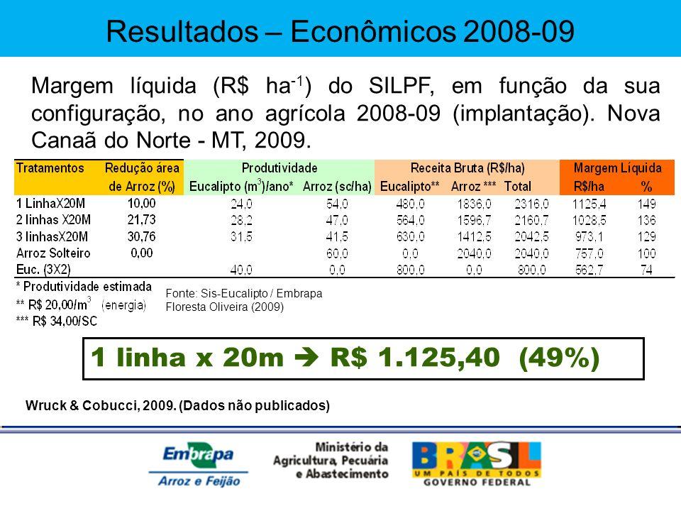 Wruck & Cobucci, 2009. (Dados não publicados) Margem líquida (R$ ha -1 ) do SILPF, em função da sua configuração, no ano agrícola 2008-09 (implantação