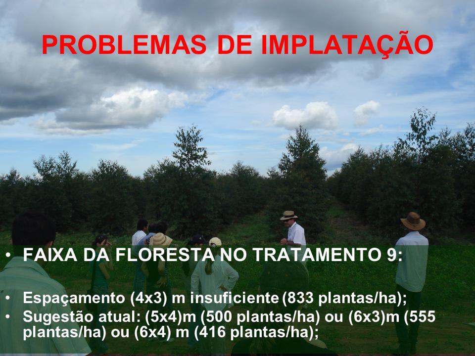 PROBLEMAS DE IMPLATAÇÃO FAIXA DA FLORESTA NO TRATAMENTO 9: Espaçamento (4x3) m insuficiente (833 plantas/ha); Sugestão atual: (5x4)m (500 plantas/ha)