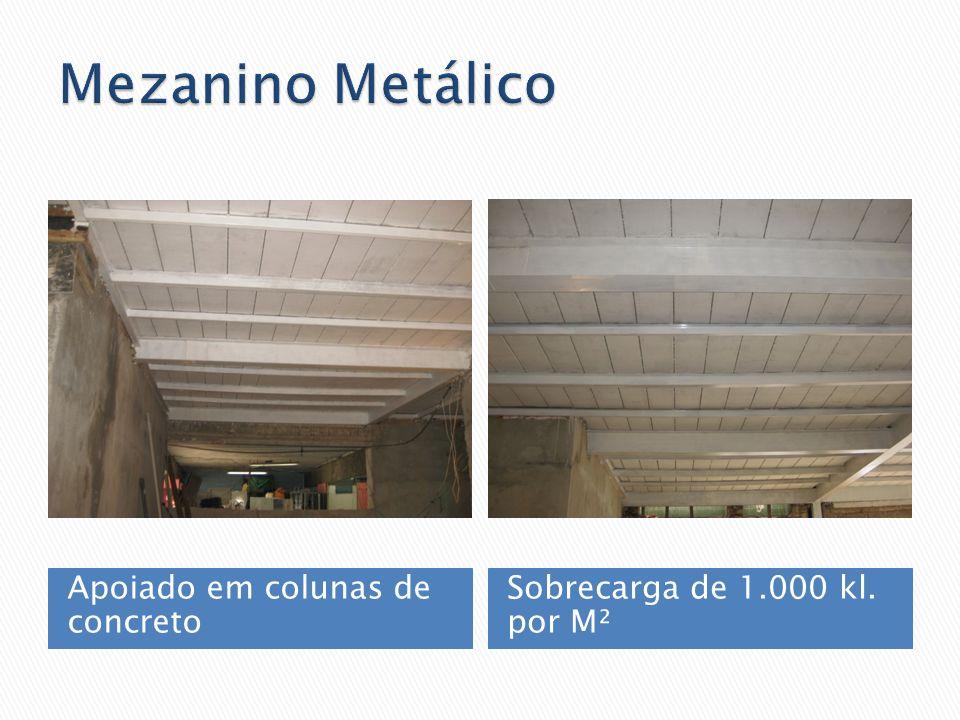 Apoiado em colunas de concreto Sobrecarga de 1.000 kl. por M²