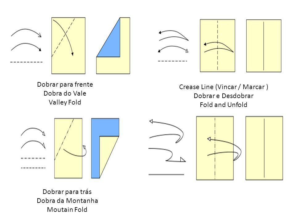 Dobrar para frente Dobra do Vale Valley Fold Crease Line (Vincar / Marcar ) Dobrar e Desdobrar Fold and Unfold Dobrar para trás Dobra da Montanha Mout