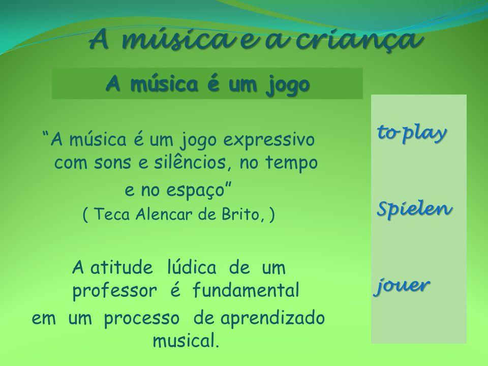 A música e a criança A música é um jogo expressivo com sons e silêncios, no tempo e no espaço ( Teca Alencar de Brito, ) A atitude lúdica de um profes