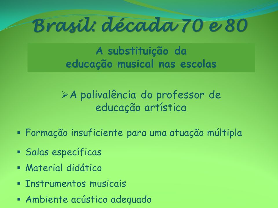 Brasil: década 70 e 80 A polivalência do professor de educação artística Formação insuficiente para uma atuação múltipla Salas específicas Material di