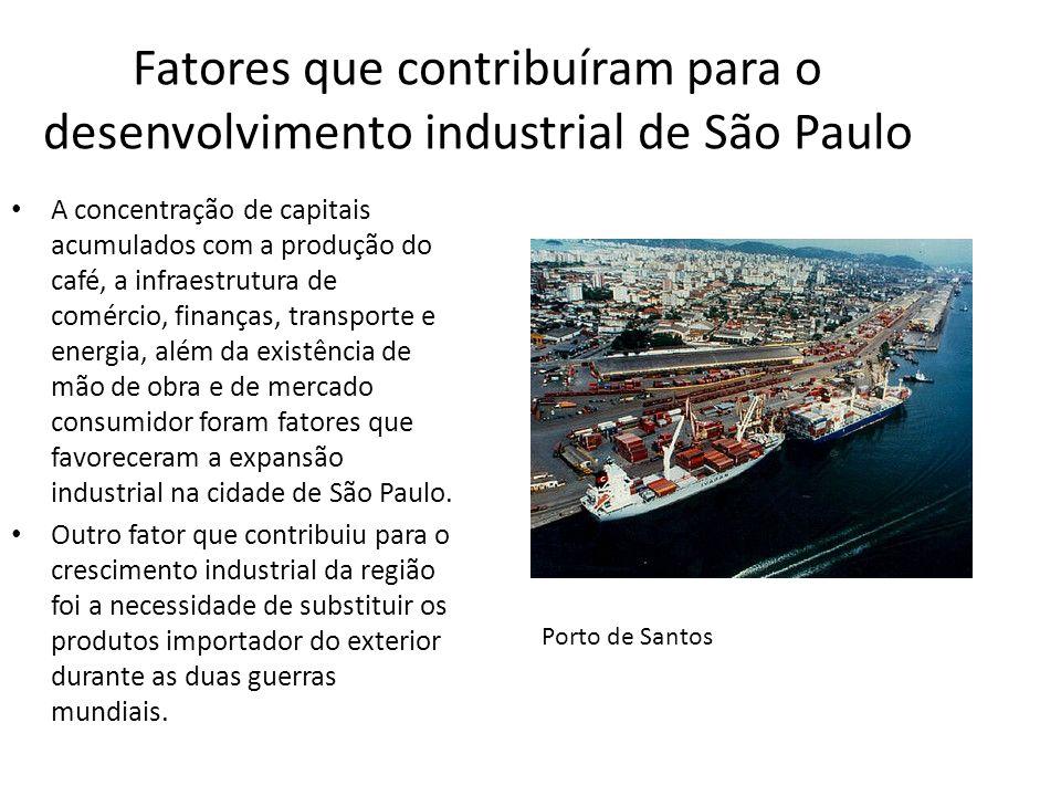 Fatores que contribuíram para o desenvolvimento industrial de São Paulo A concentração de capitais acumulados com a produção do café, a infraestrutura