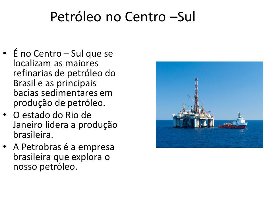 Petróleo no Centro –Sul É no Centro – Sul que se localizam as maiores refinarias de petróleo do Brasil e as principais bacias sedimentares em produção