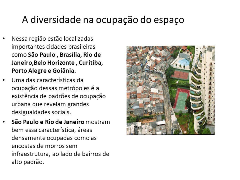 A diversidade na ocupação do espaço Nessa região estão localizadas importantes cidades brasileiras como São Paulo, Brasília, Rio de Janeiro,Belo Horiz