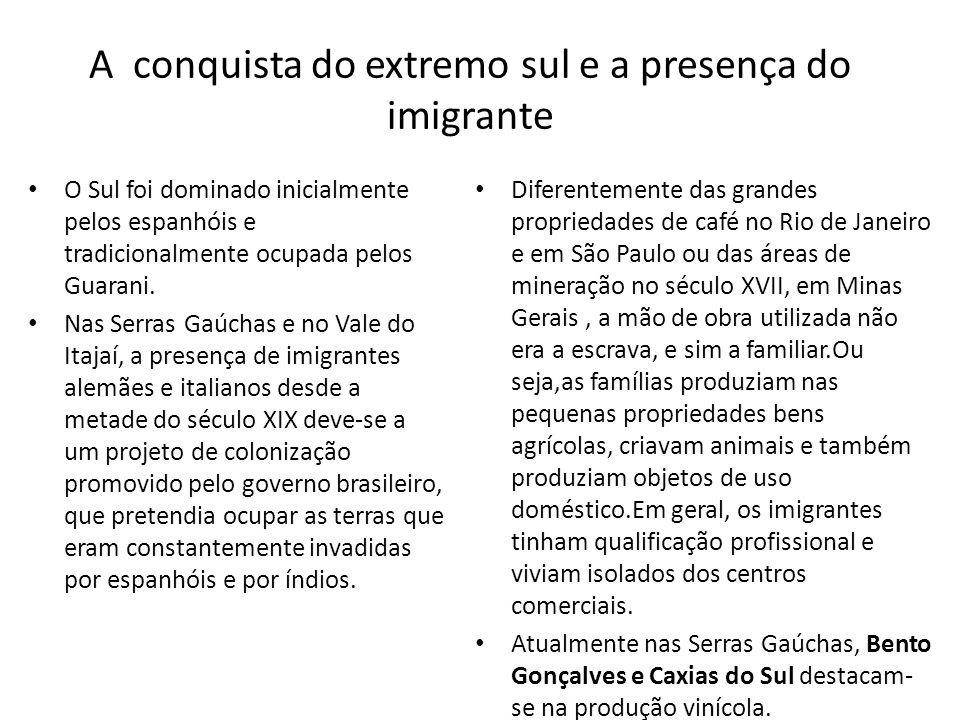 A conquista do extremo sul e a presença do imigrante O Sul foi dominado inicialmente pelos espanhóis e tradicionalmente ocupada pelos Guarani. Nas Ser