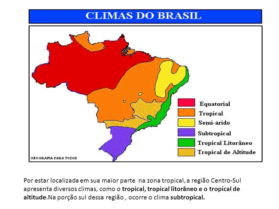 Por estar localizada em sua maior parte na zona tropical, a região Centro-Sul apresenta diversos climas, como o tropical, tropical litorâneo e o tropi