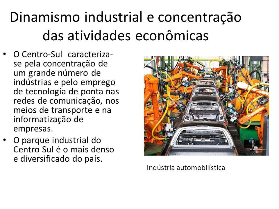 Dinamismo industrial e concentração das atividades econômicas O Centro-Sul caracteriza- se pela concentração de um grande número de indústrias e pelo