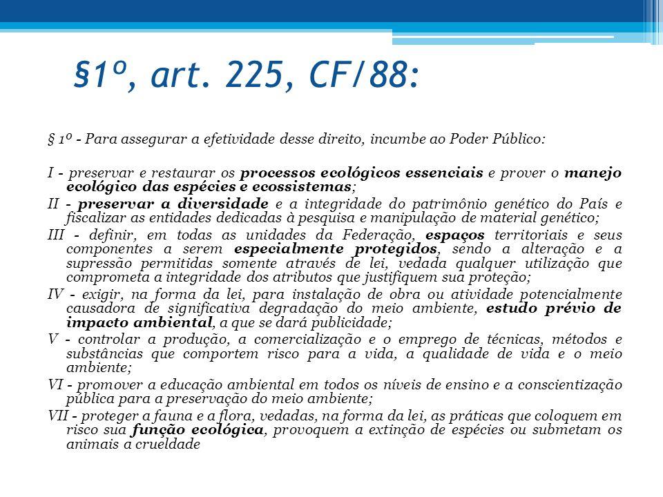 §1º, art. 225, CF/88: § 1º - Para assegurar a efetividade desse direito, incumbe ao Poder Público: I - preservar e restaurar os processos ecológicos e