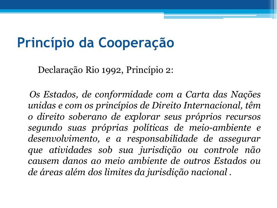 Princípio da Cooperação Declaração Rio 1992, Princípio 2: Os Estados, de conformidade com a Carta das Nações unidas e com os princípios de Direito Int
