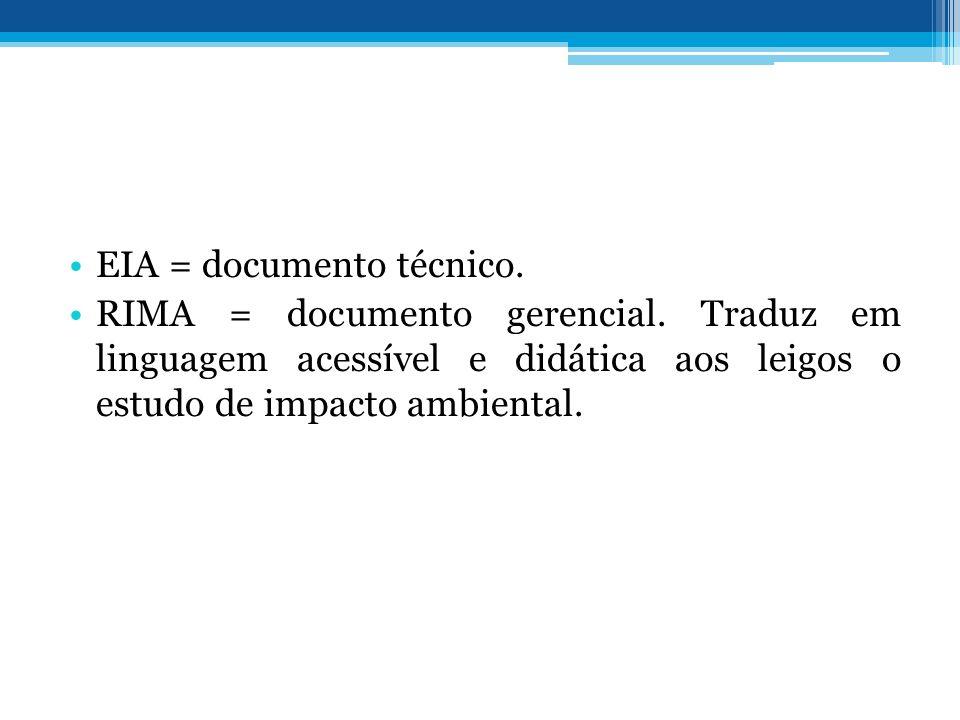 EIA = documento técnico. RIMA = documento gerencial. Traduz em linguagem acessível e didática aos leigos o estudo de impacto ambiental.
