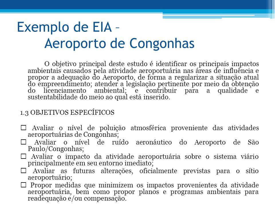 Exemplo de EIA – Aeroporto de Congonhas O objetivo principal deste estudo é identificar os principais impactos ambientais causados pela atividade aero