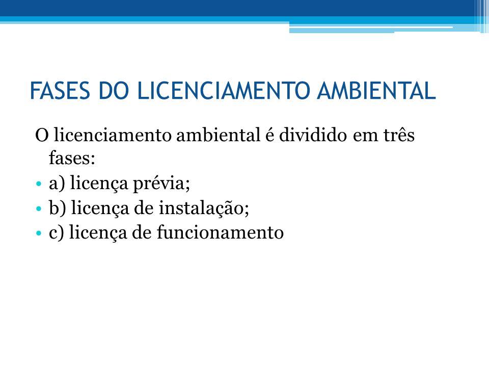 FASES DO LICENCIAMENTO AMBIENTAL O licenciamento ambiental é dividido em três fases: a) licença prévia; b) licença de instalação; c) licença de funcio