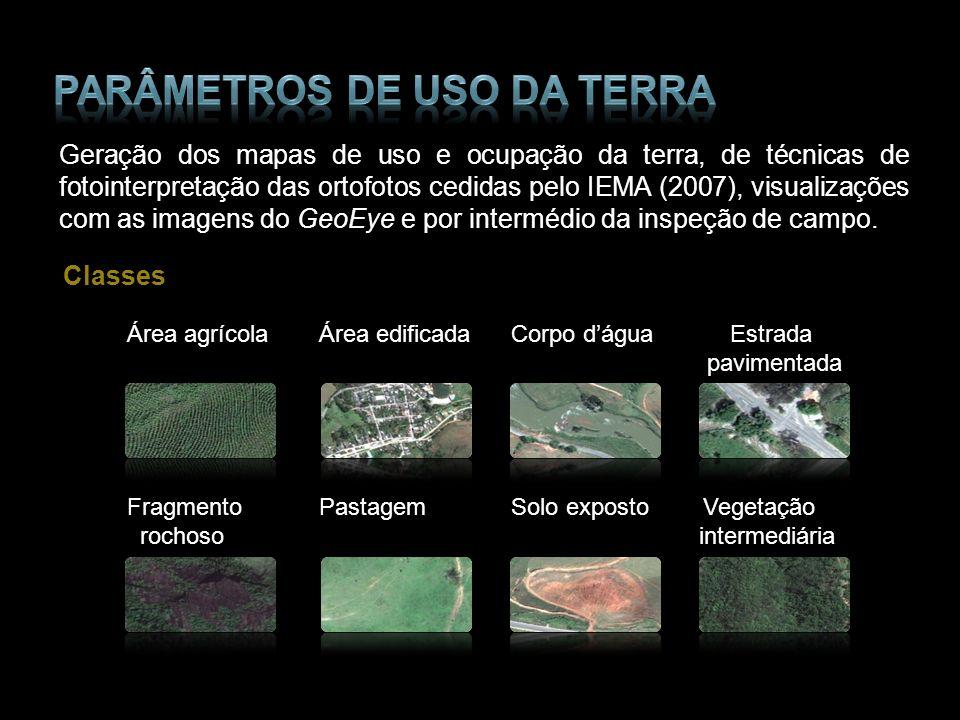 Geração dos mapas de uso e ocupação da terra, de técnicas de fotointerpretação das ortofotos cedidas pelo IEMA (2007), visualizações com as imagens do