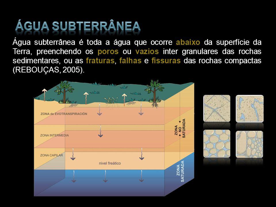 Água subterrânea é toda a água que ocorre abaixo da superfície da Terra, preenchendo os poros ou vazios inter granulares das rochas sedimentares, ou a