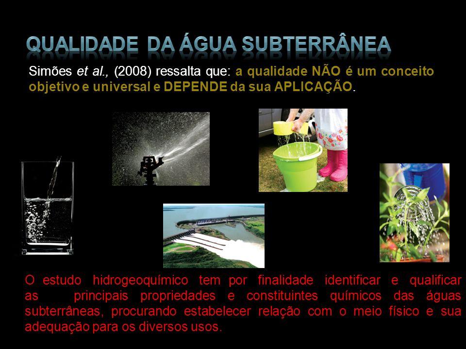 Simões et al., (2008) ressalta que: a qualidade NÃO é um conceito objetivo e universal e DEPENDE da sua APLICAÇÃO. O estudo hidrogeoquímico tem por fi