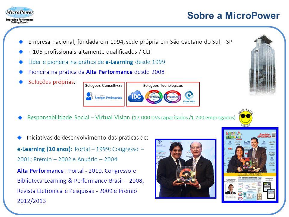 Sobre a MicroPower Empresa nacional, fundada em 1994, sede própria em São Caetano do Sul – SP + 105 profissionais altamente qualificados / CLT Líder e pioneira na prática de e-Learning desde 1999 Pioneira na prática da Alta Performance desde 2008 Soluções próprias: Responsabilidade Social – Virtual Vision ( 17.000 DVs capacitados /1.700 empregados) Iniciativas de desenvolvimento das práticas de: e-Learning (10 anos): Portal – 1999; Congresso – 2001; Prêmio – 2002 e Anuário – 2004 Alta Performance : Portal - 2010, Congresso e Biblioteca Learning & Performance Brasil – 2008, Revista Eletrônica e Pesquisas - 2009 e Prêmio 2012/2013 Soluções ConsultivasSoluções Tecnológicas