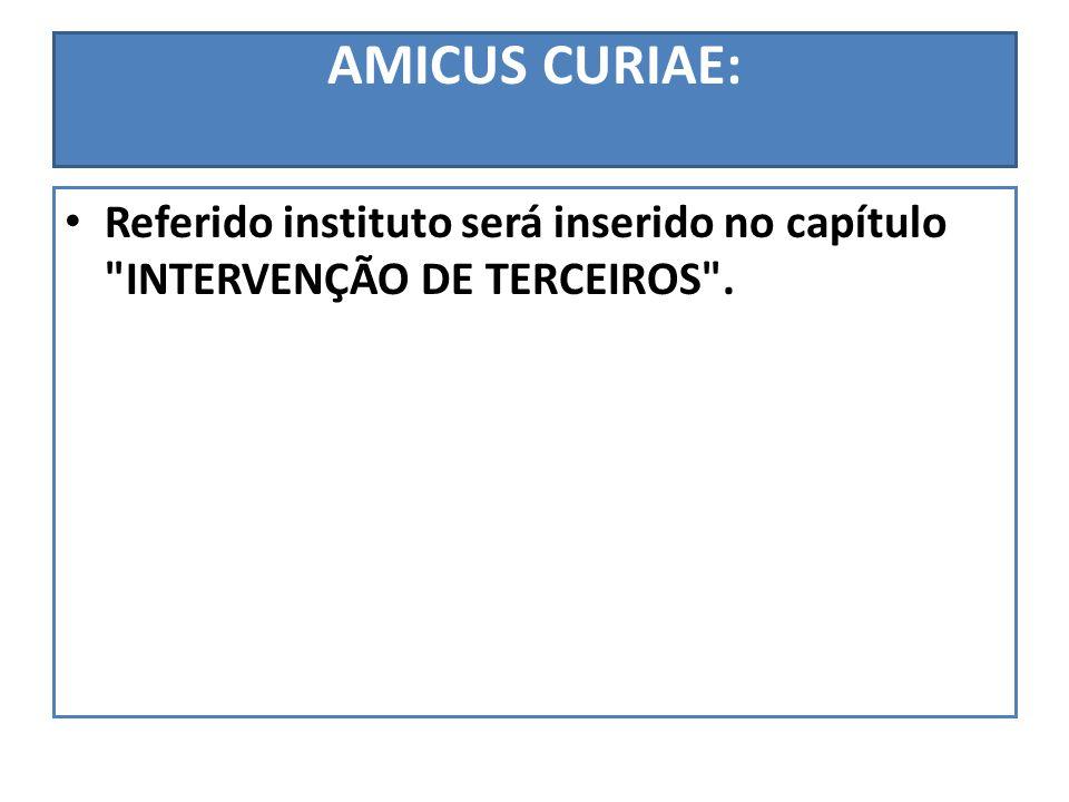 AMICUS CURIAE: Referido instituto será inserido no capítulo
