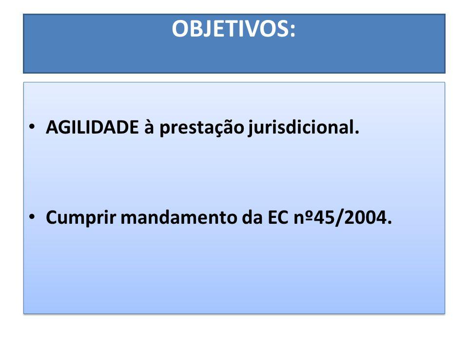 OBJETIVOS: AGILIDADE à prestação jurisdicional. Cumprir mandamento da EC nº45/2004. AGILIDADE à prestação jurisdicional. Cumprir mandamento da EC nº45
