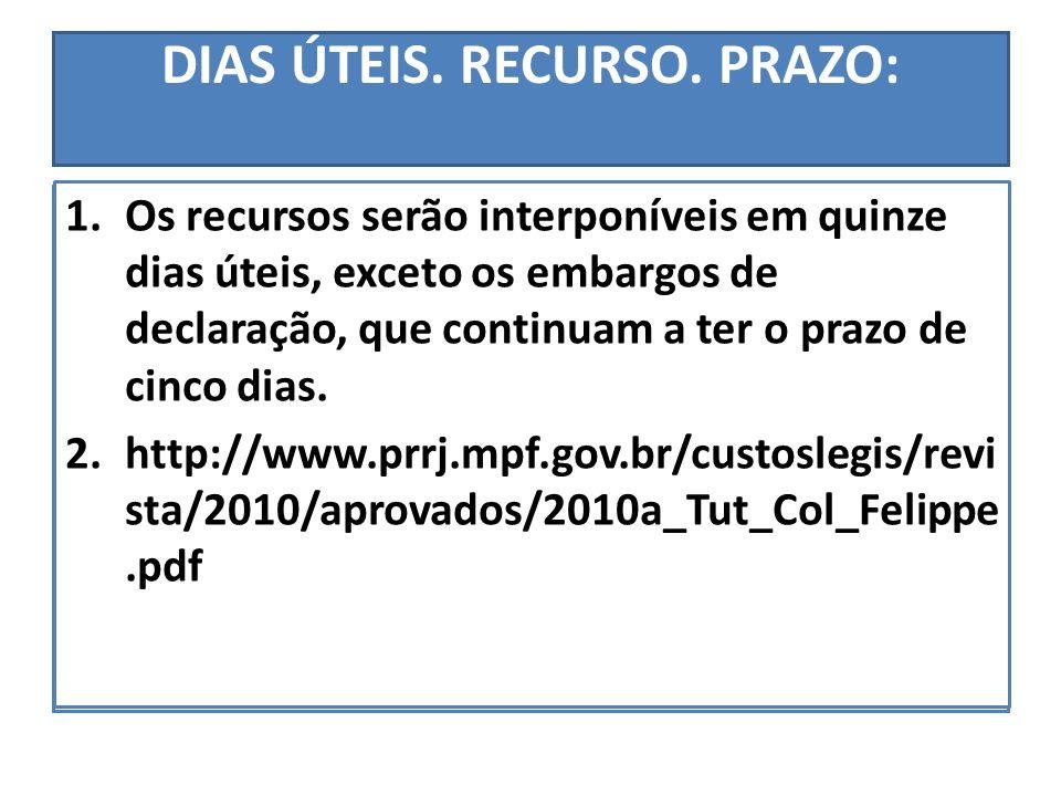 DIAS ÚTEIS. RECURSO. PRAZO: Os recursos serão interponíveis em quinze dias úteis, exceto os embargos de declaração, que continuam a ter o prazo de cin