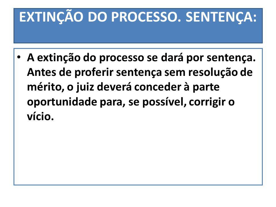 EXTINÇÃO DO PROCESSO. SENTENÇA: A extinção do processo se dará por sentença. Antes de proferir sentença sem resolução de mérito, o juiz deverá concede
