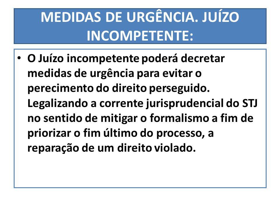 MEDIDAS DE URGÊNCIA. JUÍZO INCOMPETENTE: O Juízo incompetente poderá decretar medidas de urgência para evitar o perecimento do direito perseguido. Leg